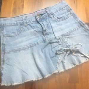 Hydraulic jeans mini skirt